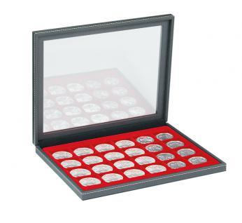 LINDNER 2367-2124E Nera M PLUS Münzkassetten Einlage Hellrot Rot mit glasklarem Sichtfenster 20 Fächer für Münzen bis 41x 41 mm - 1 Dollar US Silver Eagle $
