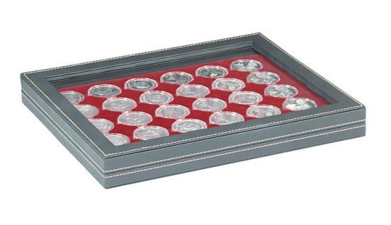 LINDNER 2367-2626E Nera M PLUS Münzkassetten Einlage Dunkelrot Rot mit glasklarem Sichtfenster für 30 x Münzen bis 39 mm & 10 - 20 Euro DM in Münzkapseln 33 mm