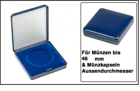 Lindner 2029-046 Blaues Kunststoff Münzetui mit blauer Veloureinlage Für Münzen / Münzkapseln bis 46 mm