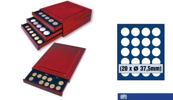 SAFE 6837 Nova Exquisite Holz Münzboxen 20 Runde Fächer 37, 5mm Für 10 - 20 Euro in Münzkapseln 32, 5 PP
