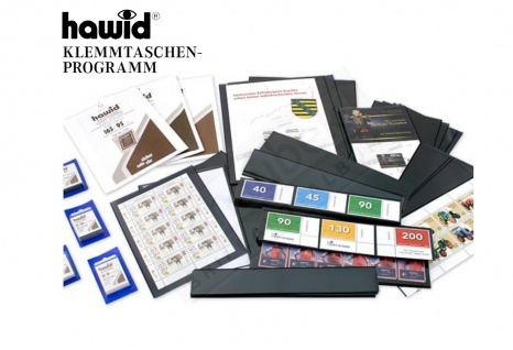 HAWID HA 1086 - HA1086 WEISSE Verpackung 10 Streifen 210x86 schwarze Klemmtaschen + doppelter Klemmnaht