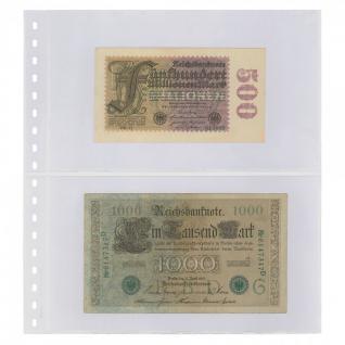 10 x LINDNER 830P Klarsichthüllen Banknotenhüllen 2 Taschen Streifen 240 x 140 mm mit weißen Zwischenblättern
