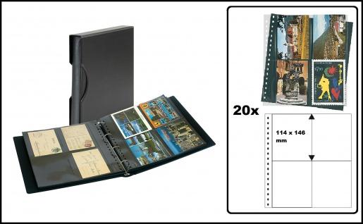 """LINDNER SRSPK-814 Postkartenalbum Ringbinder Album """" SRS """" Schwarz + Schutzkassette mit 20 Klarsichthüllen 829 für 160 Postkarten"""