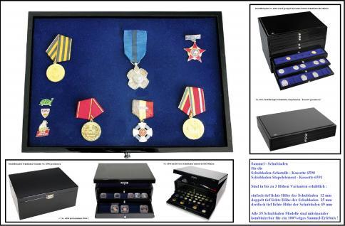 SAFE 5866-2 Schwarze Schubladen mit blauer Einlage flexible ohne Facheinteilung doppelt tief 330 x 228 x 25 mm Für Anstecknadeln Buttons Pins Schmuck Mineralien Militaria Ansteknadeln Orden