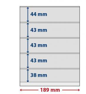 5 x LINDNER S802512H LINDNER-T freestyle Folienhüllen 5 Einsteckstreifen 38x189mm mit Klebestreifen