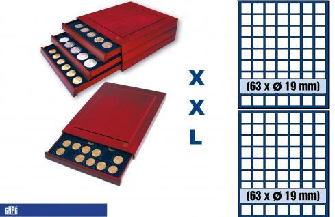 SAFE 6819 XXL Nova Exquisite Holz Münzboxen Schubladenelement mit 2 Tableaus 6319 für 126 Eckige Fächer x 19 mm Für 2 - 5 Pf 2 Cent € Euro - 1/10 & 1/20 Goldmünzen