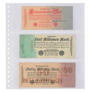 1 x LINDNER 851 Klarsichthüllen Banknotenhüllen 3 Taschen Streifen 240 x 90 mm mit schwarzen Zwischenblättern