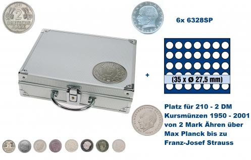 SAFE 235 - 6328 ALU Länder Münzkoffer SMART BR. Deutschland Kursmünzen 2 DM mit 6 Tableaus 6328 Für 210 - 2 Deutsche Mark Kursmünzen von 1950 - 2001