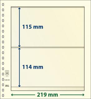 10 x LINDNER 802208P T-Blanko-Blätter Blankoblatt 18-Ring Lochung - 2 Taschen 115 / 114 x 219 mm