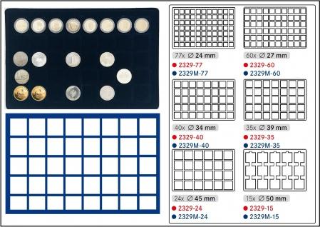 1 x LINDNER 2929M-40 Münztableaus / Einlagen Blau 40 Münzen bis 34 mm für 2 Euro in Münzkapseln - 10 - 20 EURO Deutschland