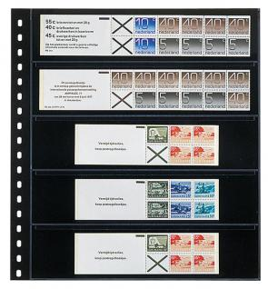 10 LINDNER 825P Klarsichthüllen Schwarz mit 5 Streifen 242 x 50 mm Für Briefmarken Markenheftchen