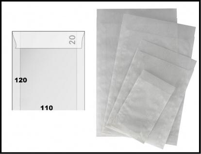 500 x LINDNER 722 - Pergamintüten Pergaminbeutel Pergamintaschen 110 x 120 mm + 20 mm Klappe für Briefmarken Pillen Samen Münzen