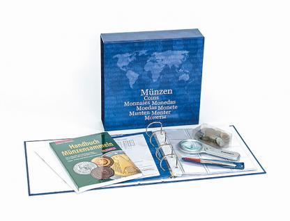 LINDNER S9021 Starter Set Münzen Sammeln Anleitung - Münzalbum - Pinzette - Lupe - Münzen
