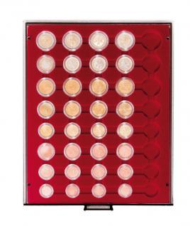 LINDNER 2956E Velourseinlagen Dunkelrot für Münzbox Münzboxen Kassetten Münzkoffer
