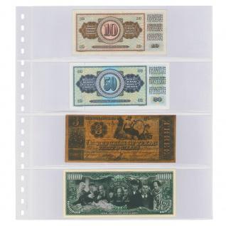 10 x LINDNER 852P Klarsichthüllen Banknotenhüllen 4 Taschen Streifen 240 x 65 mm mit schwarzen Zwischenblättern