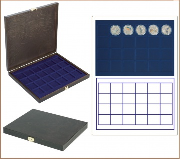 LINDNER S2491-2124ME CARUS-1 Echtholz Holz Münzkassetten blau Mit 42 quadratischen Fächern bis 42 mm