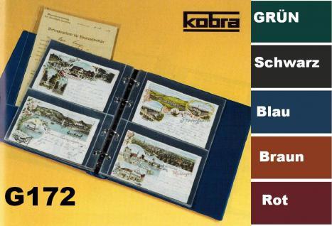 KOBRA G172 Blau Postkartenalbum Sammelalbum + 20 glasklaren geteilten Blättern G172E für 80 Postkarten - Ansichtskarten - Banknoten - Geldscheine - Vorschau 1