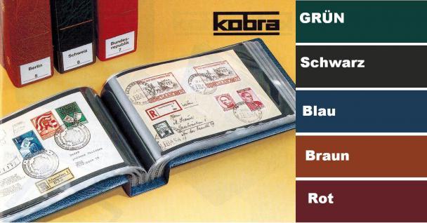 KOBRA G9 Schwarz Universal Briefealbum Sammelalbum Album 190 x 125 mm Öffnung seitlich Für 100 Fotos Bilder Briefe FDC Ansichtskarten Postkarten Geldscheine Banknoten
