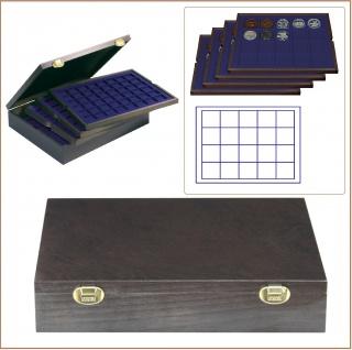 LINDNER 2494-2M CARUS-4 Echtholz Holz Münzkassetten Kassetten 4 blaue Tableaus 80 quadratische Fächer für Münzen bis 47 x 47 mm & Münzkapseln 41 mm