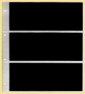 10 KOBRA G13E Ergänzungsblätter Klarsichthüllen glasklar + schwarzer Einlage 3 Taschen 235 x 90 mm