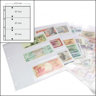 100 SAFE 5483 Banknotenhüllen Hüllen Schutzhüllen Ergänzungsbätter DIN A4 mit 3er - 3C - Teilung für bis zu 600 Geldscheine - Papiergeld - Banknoten - Vorschau 1