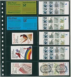 10 LINDNER 725P Klarsichthüllen Schwarz mit 10 Streifen 120 x 53 mm Für Markenheftchen Telefonkarten