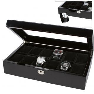 SAFE 251 Lackholz Uhrenkassette Carbo Schwarz Piano Optik mit 12 Uhrenhaltern klarem Sichtfenster - Schmuck - Uhren - Armbanduhren