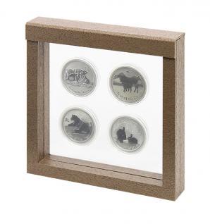 LINDNER 4878 NIMBUS 150 Braun Holzdekor Sammelrahmen Schweberahmen 3D 150x150x25 mm Für Münzen & US Slab Münzkapseln
