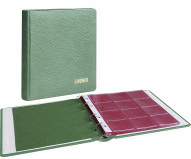 LINDNER 1106LM-G Münzalbum Album Karat Leder GRÜN + 10 Münzblättern Mixed + roten Zwischenblättern