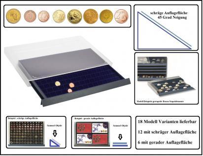 SAFE 6420 Sapelelement - Münzbox Münzen-Safe mit schräger Auflagefläche blaue Einlage 135 eckige Fächer 20 mm - Ideal für 10 Gold Mark Kaiserreich - 1, 2, 10 Cent; 1, 2, 5 Pfennig, 1/10 OZ Unze Goldmünzen