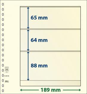 10 x LINDNER 802304P T-Blanko-Blätter Blankoblatt 18-Ring Lochung - 3 Taschen 64 / 64 / 88 x 189 mm - Vorschau 1