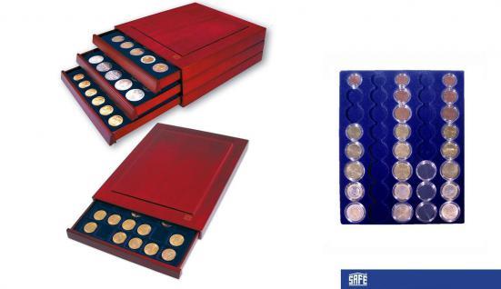 SAFE 6839 Nova Exquisite Holz Münzboxen Schubladenelement Für 5 x EURO Kursmünzensätze KMS 1 2 5 10 20 50 Cent - 1 2 € in Münzkapseln