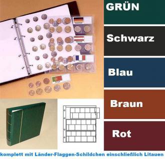 5 KOBRA FE24 Münzblätter Münzhüllen + weiße Zwischenblätter Für 3 komplette Euro KMS Kursmünzensätze + 15 Länderschildchen mit Flaggen - Vorschau 4
