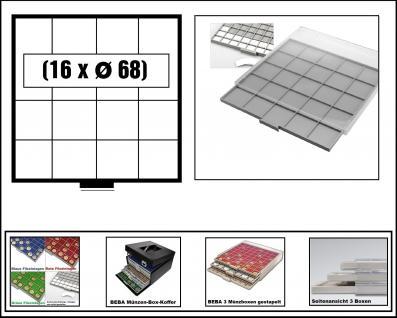SAFE 6604-6 BEBA MÜNZBOXEN 16 quadratische Fächer 68 mm + weisse Kartoneinlagen Für Münzrähmchen XL 67x67 mm Ideal für extra große Münzen und Medaillen & Quadrum XL Münzkapseln