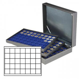 LINDNER 2365-2135ME Nera XL Sammelkassetten Marine Blau 105 Quadratische Fächer 36 x 36 mm für Jetons Poker Chips Roulette Casino