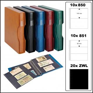 LINDNER 2815-814-W Banknotenalbum Ringbinder Regular Weinrot Rot + 20 Einsteckblättern schwarz Mixed 850 & 851 mit 2 & 3 Taschen + Kassette für Banknoten Geldscheine