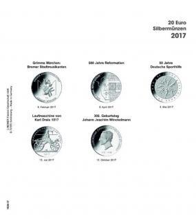 1 x LINDNER 1520-17 Münzhüllen Münzblätter Ergänzungsblätter K2 + Vordruckblatt 20 Euro Münzen Deutschland 2017