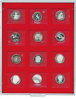 LINDNER 2205 MÜNZBOXEN Münzbox Standard 12 x 5 DM Gedenkmünzen PP im Blister 57 x 50 mm
