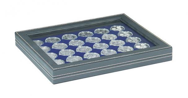 LINDNER 2367-2226ME Nera M PLUS Münzkassetten Einlage Marine Blau mit glasklarem Sichtfenster für 30 x Münzen bis 39 mm & 10 - 20 Euro DM in Münzkapseln 33 mm