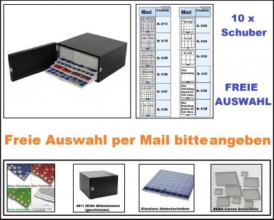 SAFE 6100 Set BEBA Münzkasten MAXI + 6611 BEBA schwarzes Möbelelement + gefüllt mit 10 Schubern Schubladen Freie Auswahl