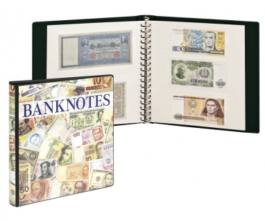 LINDNER 3701W Banknotenalbum mit 10 Klarsichthüllen Mix 830 & 831 mit weissen Zwischenblättern