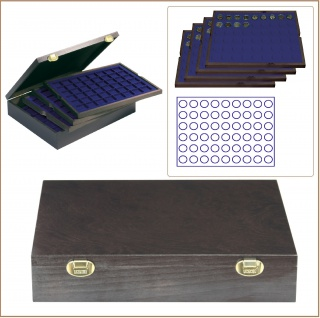 LINDNER 2494-10M CARUS-4 Echtholz Holz Münzkassetten 4 Tableaus blau 216 Fächer Münzen bis 25, 75 x 25, 75 mm 2 Euro Münzen - Vorschau 1