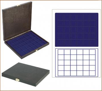 LINDNER S2491-2115ME CARUS-1 Echtholz Holz Münzkassetten blau Mit 30 quadratischen Fächern bis 38 mm