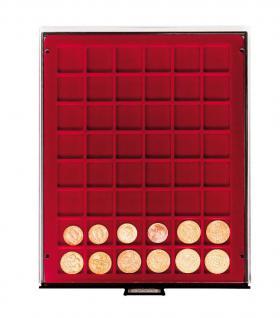LINDNER 2748 Münzbox Münzboxen Rauchglas 48 x 30 mm Münzen quadratischen Vertiefungen 5 DM 5 Euro ÖS