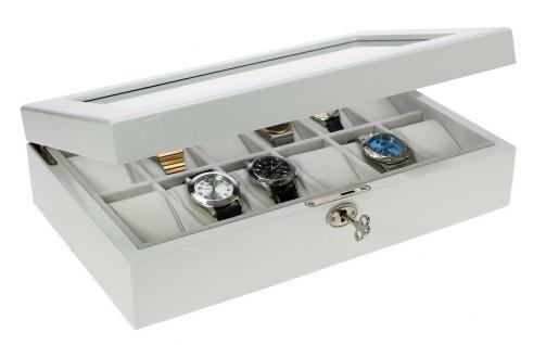 SAFE 263 Lackholz Uhrenkassette Weiss Piano Optik mit 12 Uhrenhaltern klarem Sichtfenster - Schmuck - Uhren - Armbanduhren - Vorschau 2