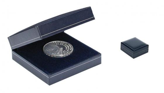 SAFE 7915 Blaues Münzetui Münzen Sammel Etui mit Silber Schmuckprägung bis 55 mm Für Münzen Medaillen - Geocoins - Travel Bugs TBs - Geocaching