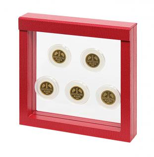LINDNER 4868 NIMBUS 150 Rot Krokodesign Sammelrahmen Schweberahmen 3D 150x150x25 mm Für Münzen & US Slab Münzkapseln