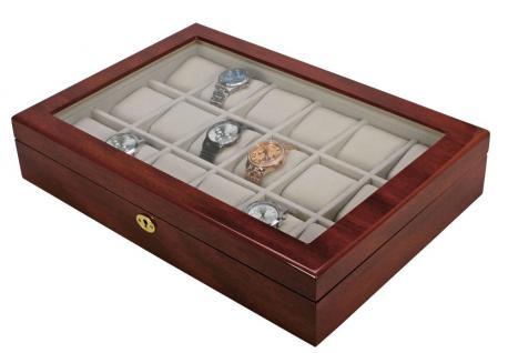 SAFE 261 Lackholz Uhrenkassette Mahagonifarbend Piano Optik mit 18 Uhrenhaltern klarem Sichtfenster - Schmuck - Vorschau 2