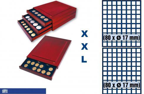 SAFE 6817 XXL Nova Exquisite Holz Münzboxen Schubladenelement mit 2 Tableaus 160 Eckige Fächer x 17 mm Für 1 Pf 1 Cent € Euro