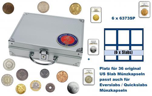 SAFE 231 - 6373 ALU Länder Münzkoffer SMART Frankreich / France mit 6 Tableaus 6373SP für 36 original US Slab Münzkapseln & Eversalbs & Quickslab Münzkapseln